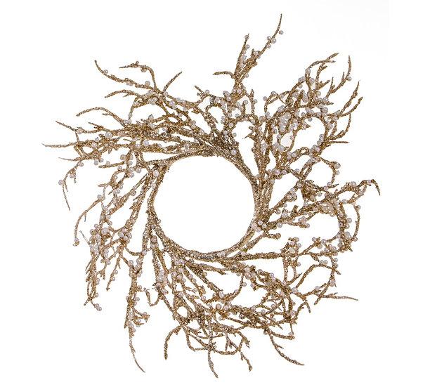 Στεφάνι κεριού πέρλες,σαμπανι/χρυσό,20cm | ZAROS