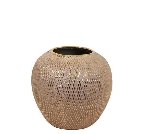 Κεραμικό βάζο ανάγλυφο σχ.καφέ/χρυσό, 22.5x21.5cm | ZAROS