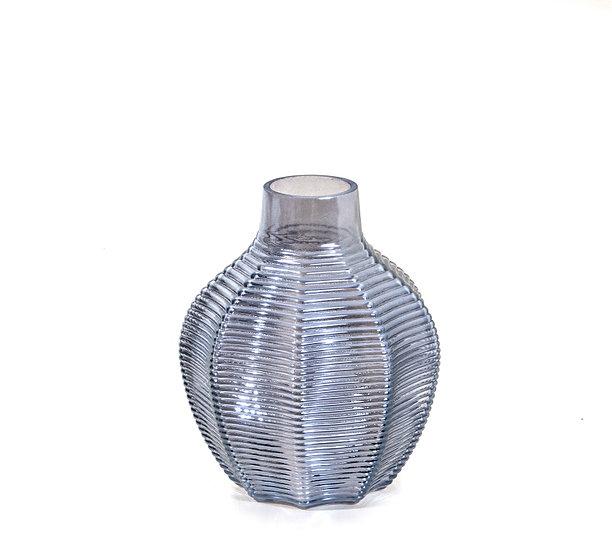 Γυάλινο βάζο ιριδίζον μπλε, 13x16cm   ZAROS