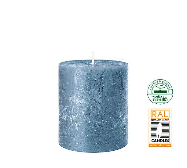Κερί κορμός ρουστίκ, μπλε,7x8cm | ZAROS