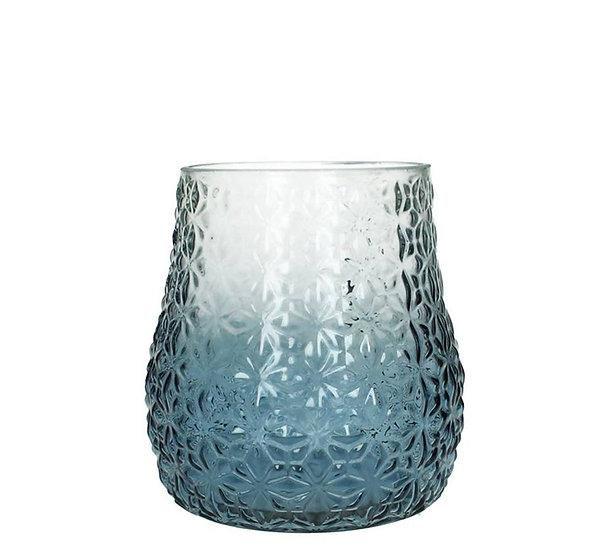 Γυάλινο Βάζο/Φανάρι διαφανο/μπλε, 18cm | ZAROS