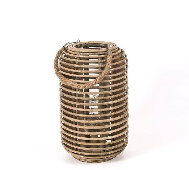 Φανάρι rattan με σχοινι σχ.κύλινδρος,φυσικό χρ.,23x38cm   ZAROS