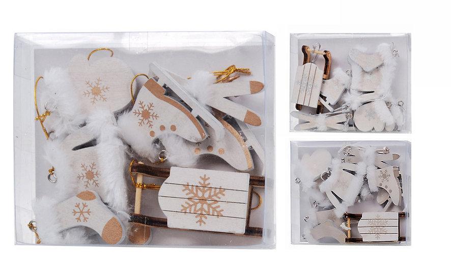 Κουτί με διάφορα ξύλινα στολιδάκια 3χρώματα | ZAROS