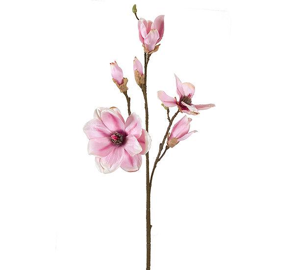 Κλαρί 2 μανόλιες & 3 μπουμπούκια, απαλό ροζ,79cm | ZAROS