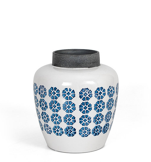 Κεραμικό βάζο με ρετρό γαλάζιο μοτίφ 22,5cm | ZAROS