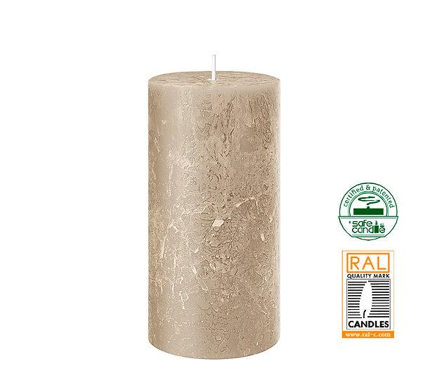 Κερί κορμός ρουστίκ, άμμος,7x14cm | ZAROS