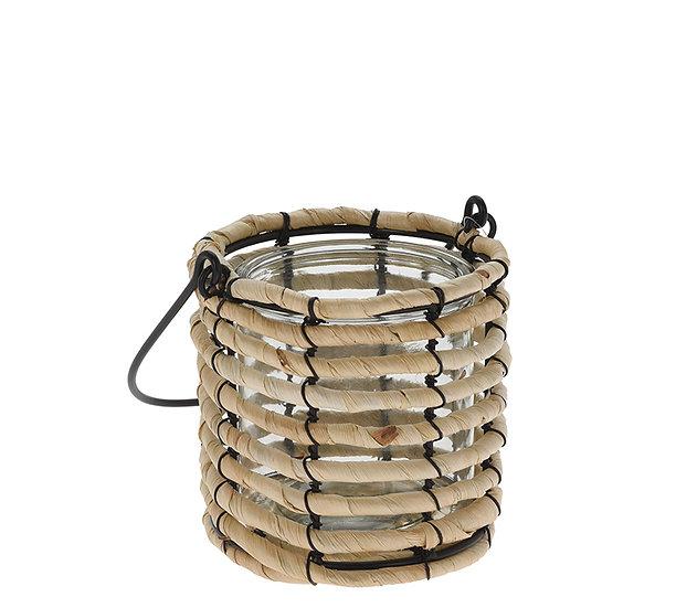 Γυάλινο φανάρι με ψάθινη επένδυση & χερούλι,13.5cm | ZAROS