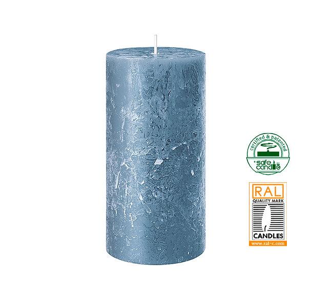 Κερί κορμός ρουστίκ, μπλε,7x14cm | ZAROS