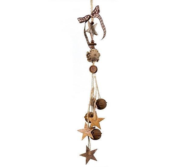 Γιρλάντα με κουκουνάρια και ξύλινα αστέρια, 53cm | ZAROS