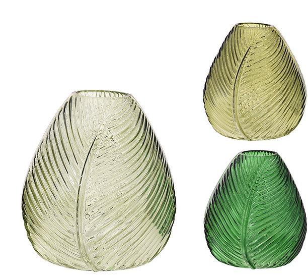 Γυάλινο βάζο σχήμα φύλλου, 3 αποχρώσεις πράσινου, 15cm   ZAROS