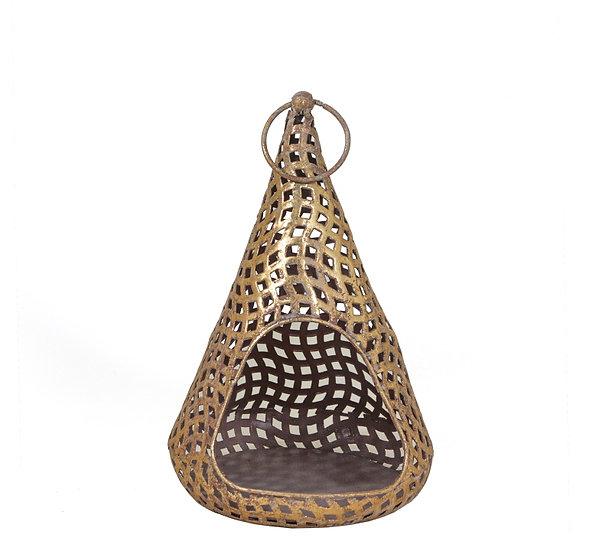 Κωνικό μεταλ/κο φανάρι με τρύπες,χρυσό,25.5cm | ZAROS
