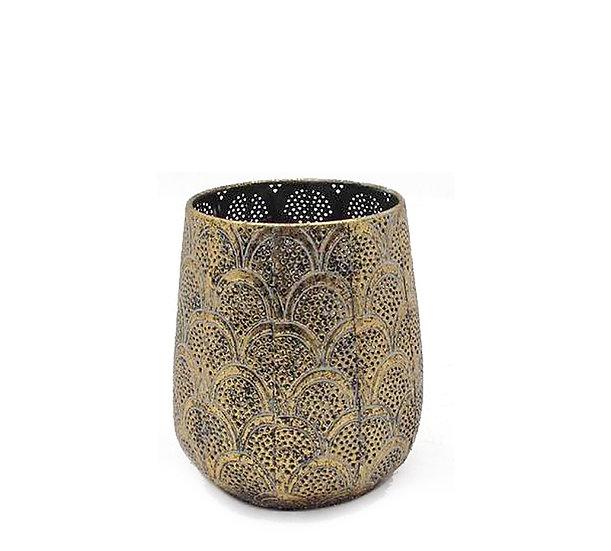 Μεταλλικό φανάρι με γυαλί, χρυσό,16,5cm | ZAROS