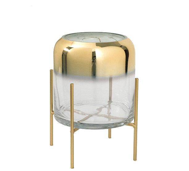 Γυάλινο κηροπήγιο ντεγραντέ χρυσή επίστρωση & μεταλλική βάση, 23cm | ZAROS