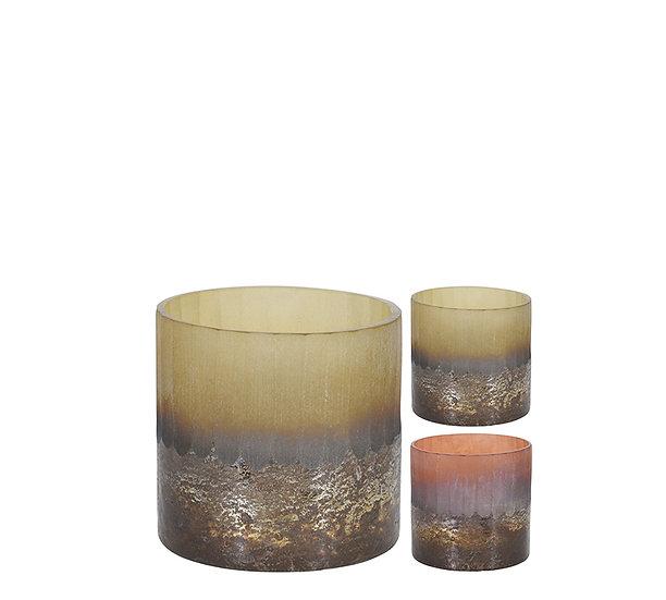 Κηροπ/γιο ρεσό, γυαλινο με οξείδωση, 2 χρ.,11cm | ZAROS