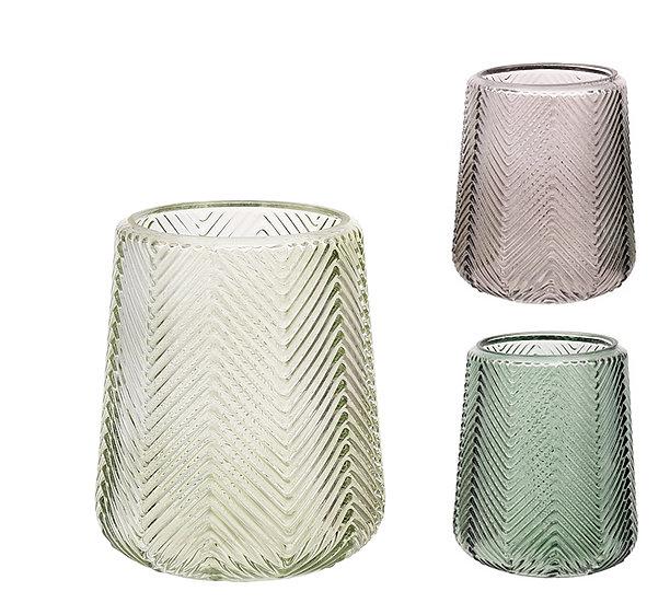 Γυάλινο βάζο/φανάρι σχ.ψαροκόκκαλο,σε 3 χρώματα,14cm | ZAROS