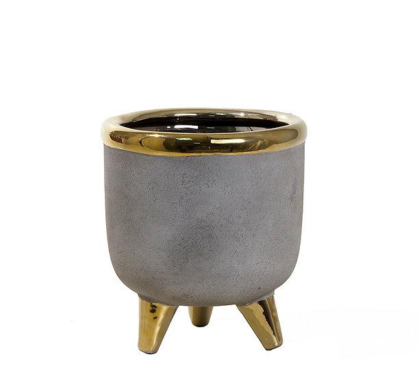 Κεραμικό κασπό επίχρυσο με υφή τσιμεντοκονίας,14.5x16cm | ZAROS