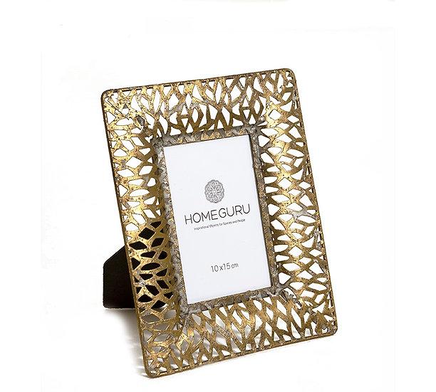 """Φωτογραφοθήκη """"Flower"""" (1x15) χρυσή, 19.5x24.5cm   ZAROS"""