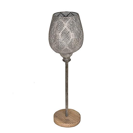 Κηροπήγιο με γυαλί σε ξύλινη βάση 56,5cm | ZAROS