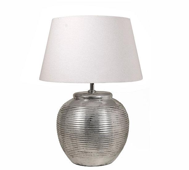 Επιτραπέζιο κεραμικό φωτιστικό, ασημί,Y.65cm | ZAROS