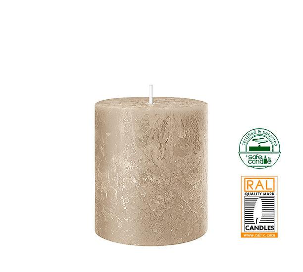 Κερί κορμός ρουστίκ, άμμος,7x8cm | ZAROS