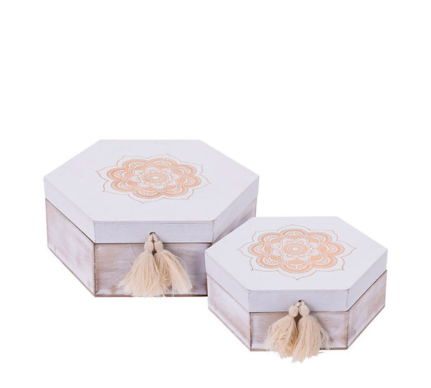 Σετ/2 ξύλινα οκταγωνα κουτιά με mandala print & φουντίτσες | ZAROS