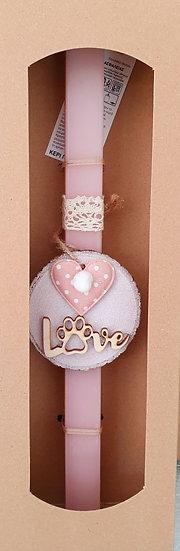 Χειροποίητη αρωματική λαμπάδα ροζ με καρδιά