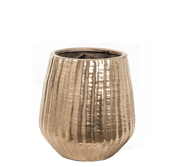 Κεραμικό βάζο ανάγλυφο σατινέ χρυσό, 18,5x19,5cm | ZAROS