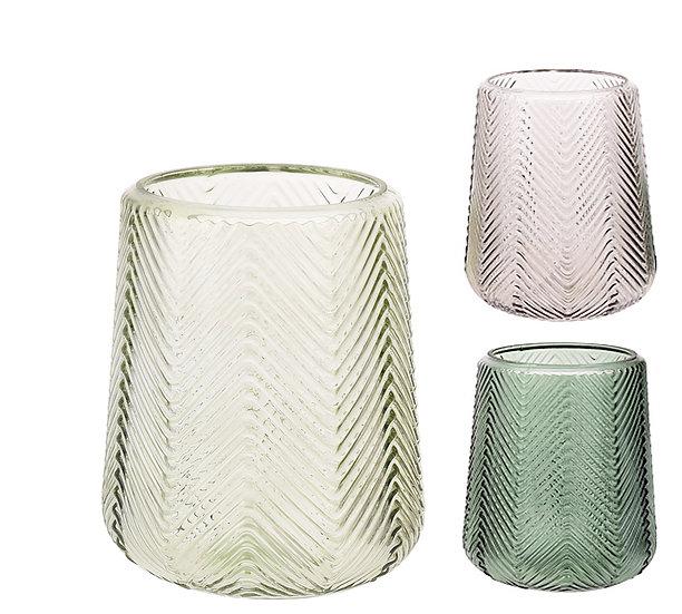 Γυάλινο βάζο/φανάρι σχ.ψαροκόκκαλο,σε 3 χρώματα,19cm   ZAROS