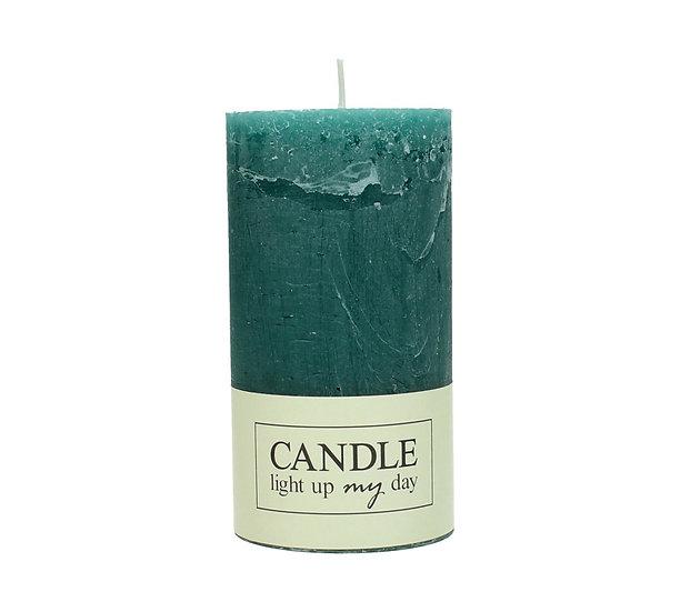 Κερί κορμός σαγρέ πετρολ 7x7x13cm | ZAROS