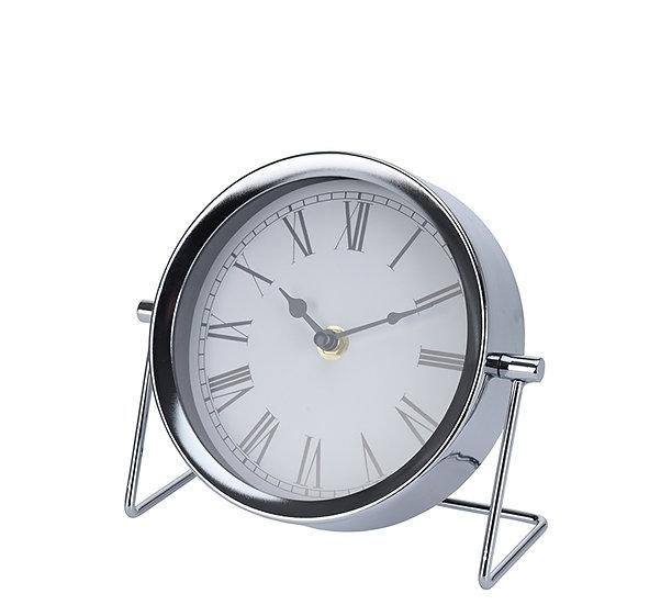 Επιτραπέζιο ρολόι νίκελ ασημί,18x16cm | ZAROS