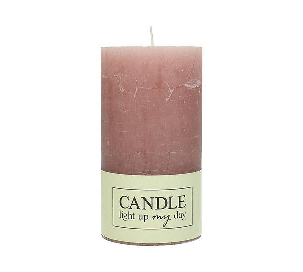 Κερί κορμός σαγρέ ροζ 7x7x13cm | ZAROS