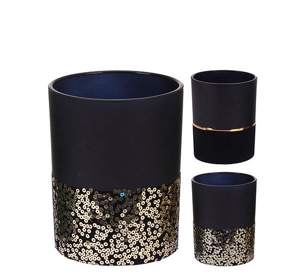Γυαλ.κηροπηγιο ρεσό βελουτέ μαύρο/χρυσό,2σχ.,12cm | ZAROS