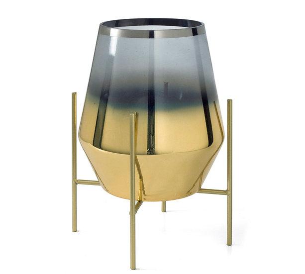 Γυάλινο οβάλ κηροπήγιο φιμέ/χρυσό σε μεταλλική βάση 27cm | ZAROS