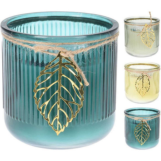 JK Κερί αρωματικό σε γυάλινο με φύλλο