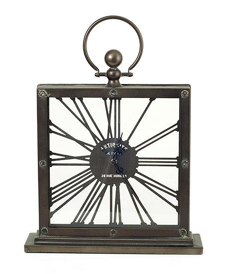 Μεταλλικό επιτραπέζιο ρολόι με λατινικούς αριθμούς, 43,5cm   ZAROS