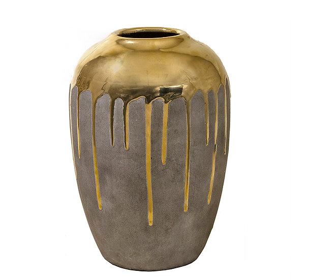Κεραμικό βάζο επίχρυσο με υφή τσιμεντοκονίας, 19x27cm | ZAROS