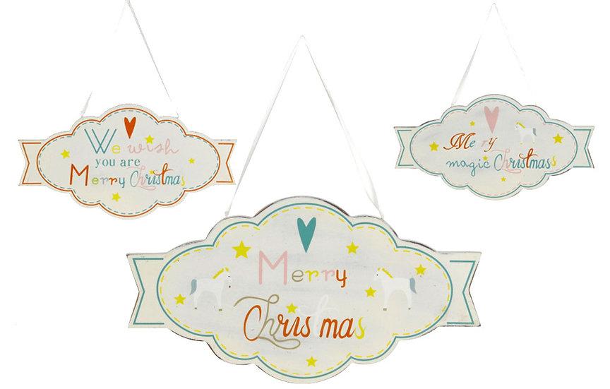 Ξύλινο διακοσμητικό πινακάκι με χριστ/κες ευχές, 3 παστέλ χρ.,36cm | ZAROS