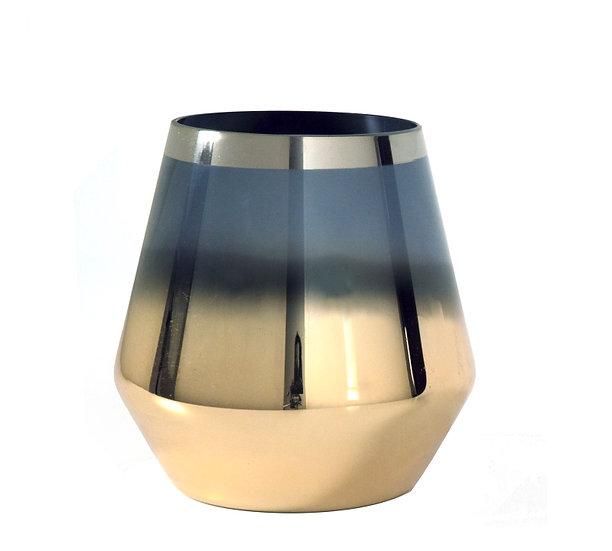 Γυάλινο οβάλ κηροπήγιο φυμέ/χρυσό 15cm | ZAROS