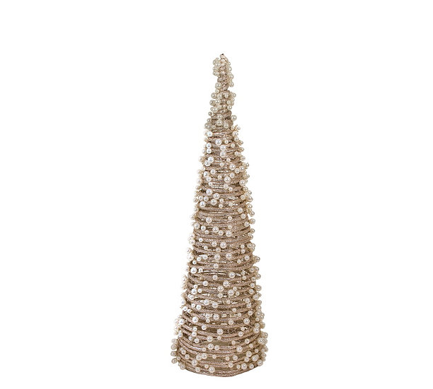 Έλατο κώνος απο λυγαριά, σαμπανί glitter και πέρλες,40cm   ZAROS