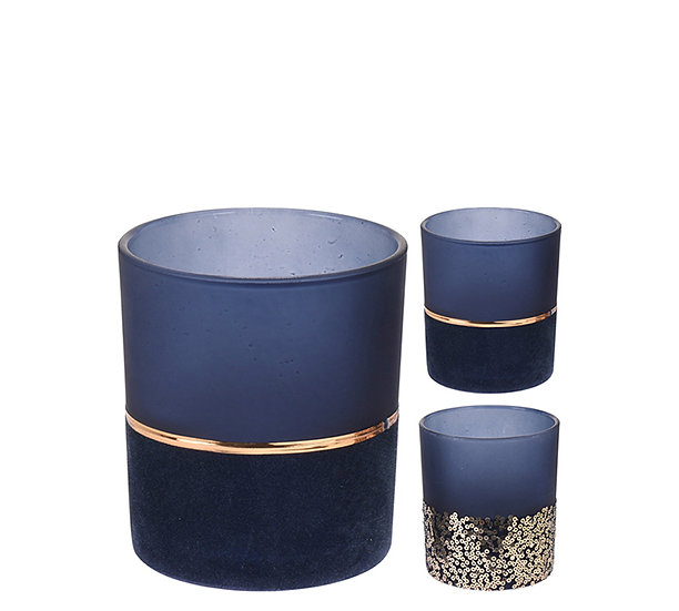 Γυαλ.κηροπηγιο ρεσό βελουτέ μπλε/χρυσό,2σχ.,10cm | ZAROS