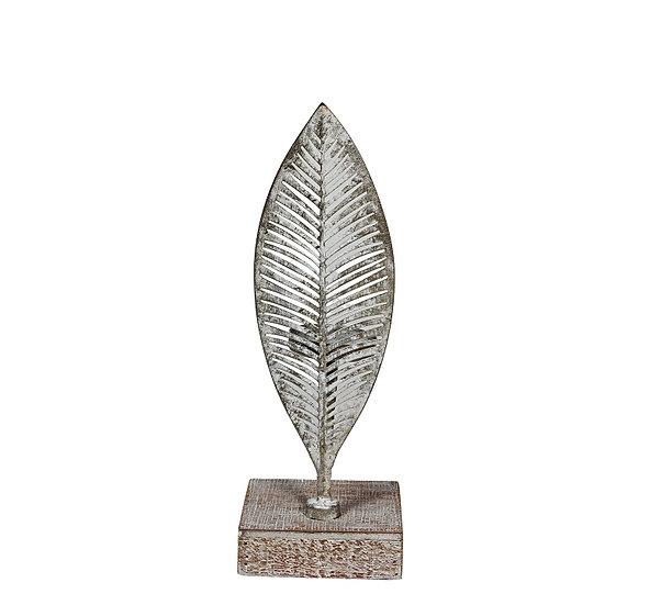 Μετ.κηροπήγιο σχ.φύλλο σε ξύλινη βάση, πατίνα λευκό,29cm | ZAROS