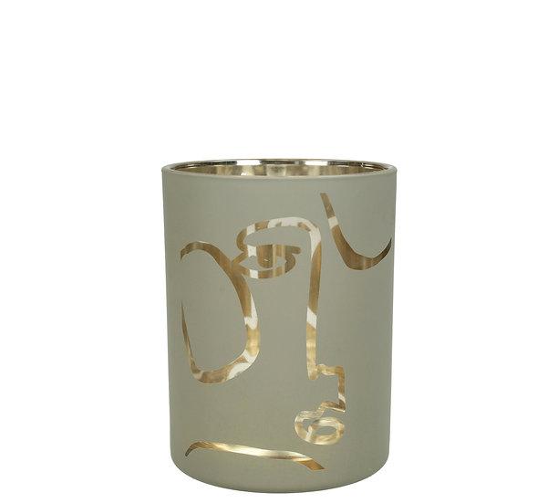 Κηροπ/γιο ποτήρι με καθρέπτη σχ.πρόσωπο, γκρι,12.5cm   ZAROS