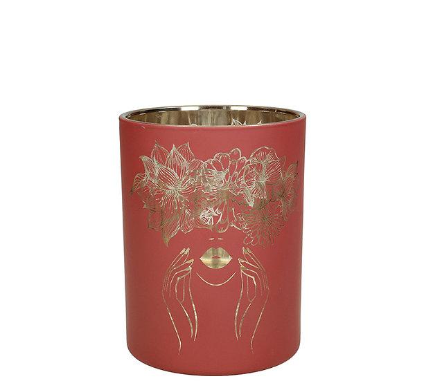 Κηροπ/γιο ποτήρι με καθρέπτη σχ.γυναίκα, σωμόν,12.5cm | ZAROS