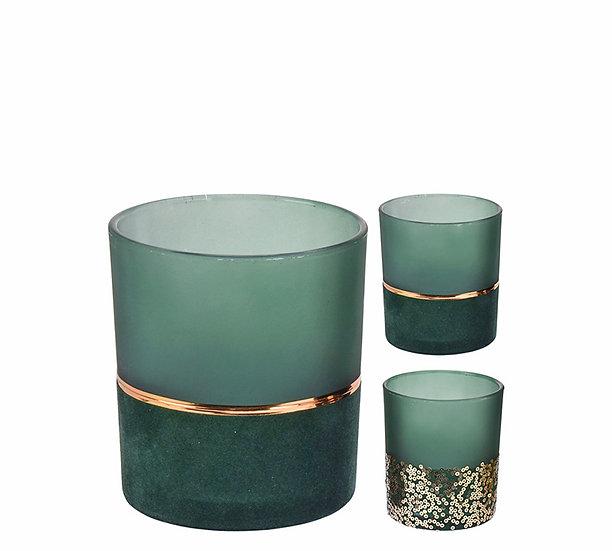 Γυαλ.κηροπηγιο ρεσό βελουτέ πράσινο/χρυσό,2σχ.,10cm | ZAROS