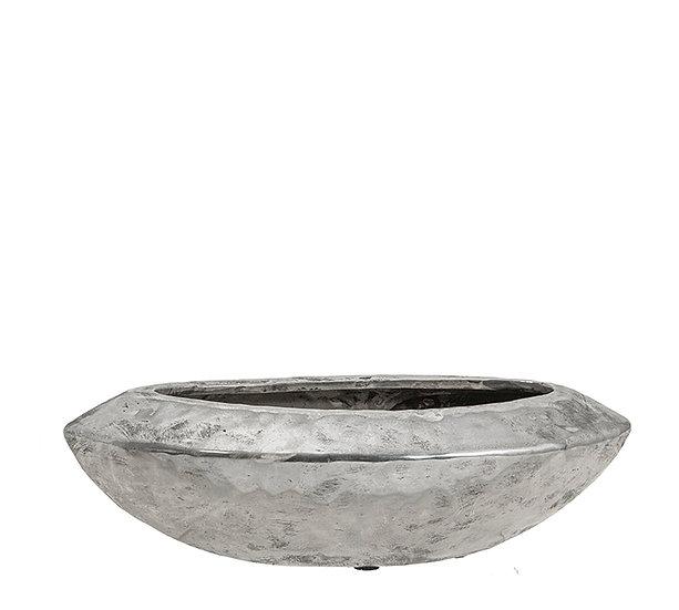 Κεραμικό σφυρήλατο οβάλ μπολ, ασημί, 33x10.5cm | ZAROS