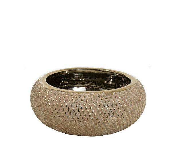 Κεραμικό μπολ, ανάγλυφο σχ.καφέ/χρυσό,18x8cm | ZAROS