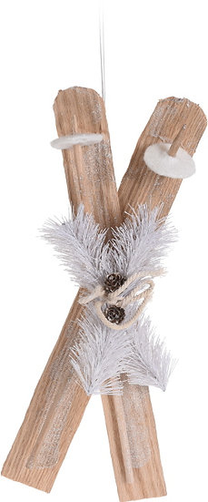 Ξύλινα διακοσμητικά πέδιλα σκι, 50cm | ZAROS