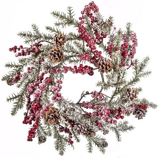 Χιονισμένο στεφάνι (P.E) berries & κουκουναρια 71cm | ZAROS