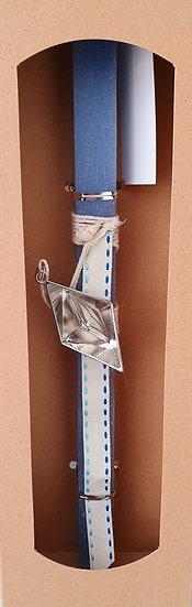 Χειροποίητη αρωματική λαμπάδα μπλε με βαρκούλα