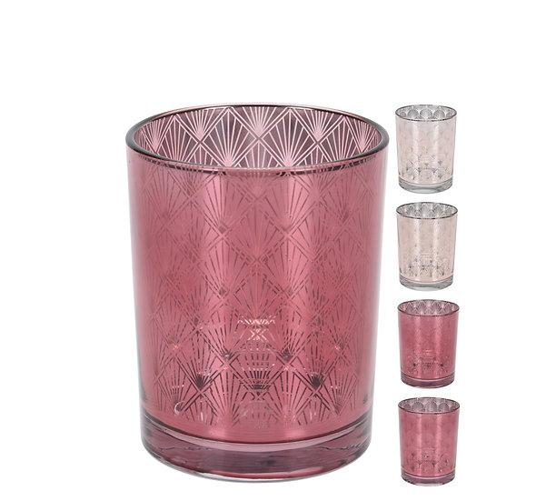 Γυάλινο Art Deco κηροπ/γιο 4σχ.,ροζ,12.5cm | ZAROS